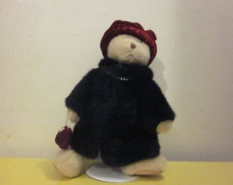 "Russ Berrie Bear ""Nuria"", with fur coat, pearls, purse, with stand"