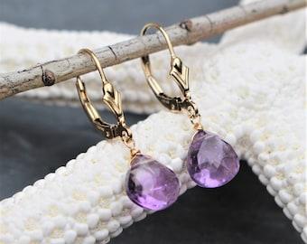 Amethyst Drop Earrings,14 kt. Gold Filled, Lever Back Earrings, Natural Amethyst, Genuine Amethyst, Gold Earrings, February Birthstone