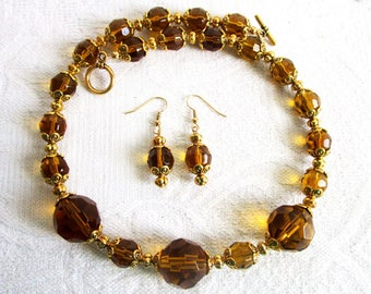 Gold Glass Necklace and Earrings