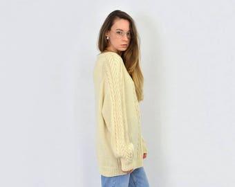 Beige oversized sweater Fisherman cream vintage chunky pullover XL/XXL