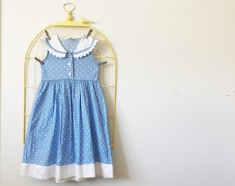 Vintage Blue And White Polka Dot Dress (Girls Size 8)