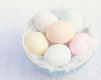 Food Photography - Kitchen Art - Easter Decor - Easter Eggs - Whimsical - Dining Room Decor - Fine Art Photography Print - Pastel Home Decor