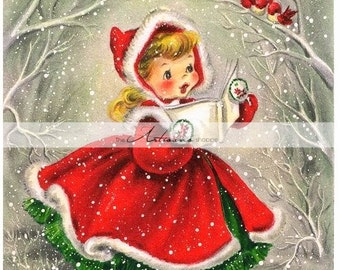 Digital Download Printable - Vintage Christmas Card Girl in Red Singing to Birds in Snow - Paper Crafts Scrapbooking Altered Art
