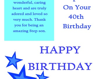 Step Son 40 Birthday Card with removable laminate