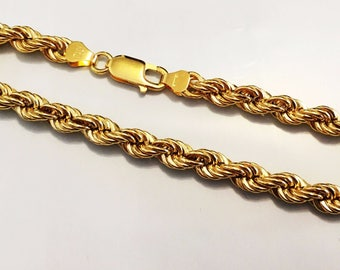 """18k solid yellow gold(5mm)hollow rope bracelet(6gr/7.50""""inch)"""