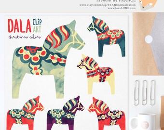 3 FOR 2. Watercolor Christmas Dala Horse Clip Art. Nordic Folk Art. Scandinavian Clipart. Dalahäst Dalecarlian Horse, Pony. Pinterest. Xmas.