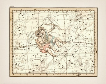 Gemini the Twins Zodiac Sign Constellation - AS-15 - Fine art print of a vintage scientific or pseudoscience antique astronomy illustration