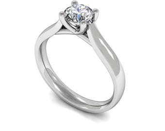 Round Diamond Solitaire Engagement Ring - 18 carat white gold + 0.25 carat round brilliant cut diamond