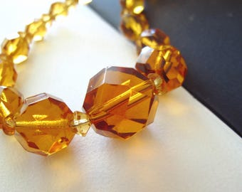 vintage amber glass beaded necklace faceted crystal beads restrung modern grandma