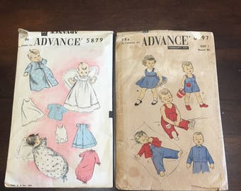 Vintage Ephemera Scrap Booking Paper Detash CUT Sewing Patterns Lot Advance 5897 & 6897