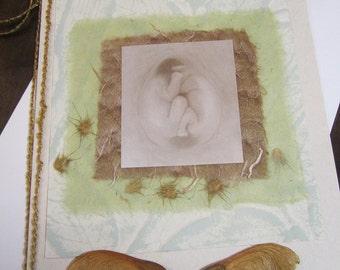 Yin-Yang - twin handmade card honoring motherhood, baby, Rumi, Ann Geddes, Nature, Nurture, love, inspiration, pregnant, maternity, birth