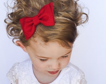 DARK Red Bow Headband - Solid Red Bow with Diagonal Tails Headband or Clip - Dark Red Fabric Bow - Nylon Headband - Red Baby Bow Headband