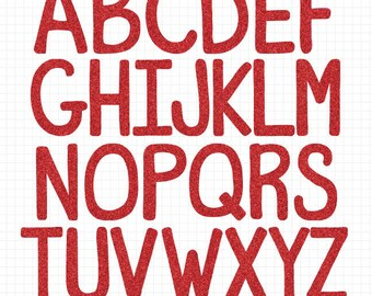Red Glitter Alphabet Clipart, Red Letters, Commercial Use, Alphabet Clip Art Set Digital Download