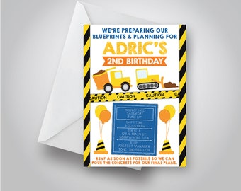 Construction Birthday Invitation | Blueprint Birthday Invitation | Dump Truck Birthday Party | Boys Birthday 5x7