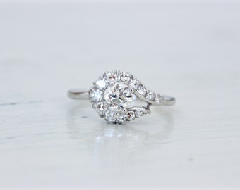 SALE Vintage 1960s Engagement Ring | Diamond Halo Ring | Unique Engagement Ring | Cocktail Ring | 14k White Gold Cluster Ring | Size 8