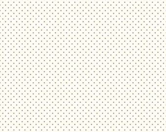 Gray Polka Dot Fabric - Riley Blake Swiss Dots Le Creme - Gray and Cream Polka Dot Fabric By The 1/2 Yard