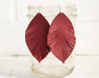 "3 1/2"", recycled, red earrings, leather feather earrings, leaf jewelry, earrings, dangle earrings, feathers, tassel earrings, stacylynnc"