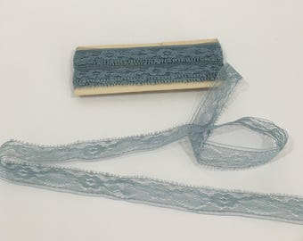 Dusty Blue Lace Yardage, Vintage Sewing Supplies