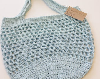 Reusable Crocheted Market Bag - Baby Blue