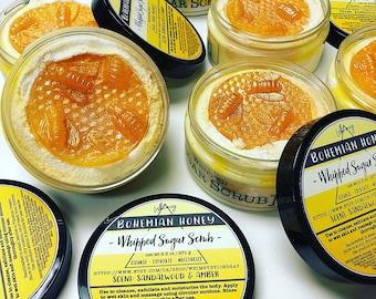 "SUGAR SCRUB - ""Bohemian Honey"" - Scented in Amber & Sandalwood - Whipped - Exfoliating, Moisturizing, Radiance - The BEST scrub you'll try!"