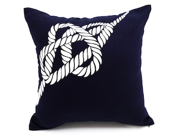 Nautical Rope Pillow Cover, White Rope Embroidery Navy Blue Pillow, Nautical Pillow, Sailing Decor, Decorative Pillow, Navy Cushion Cover