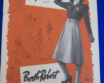 1940's  Original Vintage Fall Fashions Booklet 22 pages Coats and Dresses Berth Robert New York