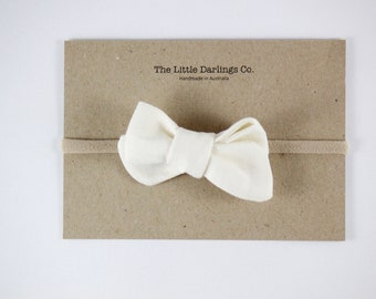 Hand Tied Hair Bow 100% Linen Small Pinwheel in Cream // Clip or Band