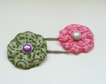 nhp-Pink and Green Silk Flower Hair Pins