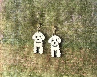White Poodle earrings.