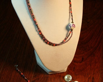 A-Symmetrical Pink and Purple Necklace, Bracelet and Earrings