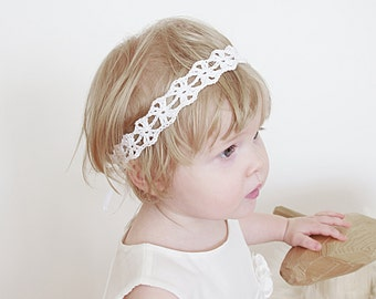 Crochet Newborn Headband, Baby Headband, Christening Headband, Baptism Headband, Flower Girls Headband, Boho Wedding Crochet Headband