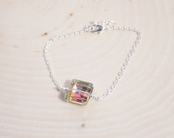 Handmade AB Square Bracelet Crystal Ab Pendant AB Crystal Bracelet Crystal AB Square Bracelet Aurora Borealis Bracelet