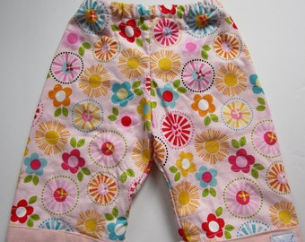 Quilty Pants 6 month to 4T. Multi Colour Floral on Pink.