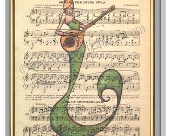 Mermaid Art Print Vintage Sheet Music, Gift for Musician, Beach Decor, Nautical Wall Art, Gift for Women, Seaside Art, Wall Hanging, Shano