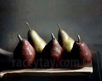 Photo of Pears, Rustic Kitchen Decor, Red, Gold, Food Photography, Dark, Painterly,  Rustic Wall Art