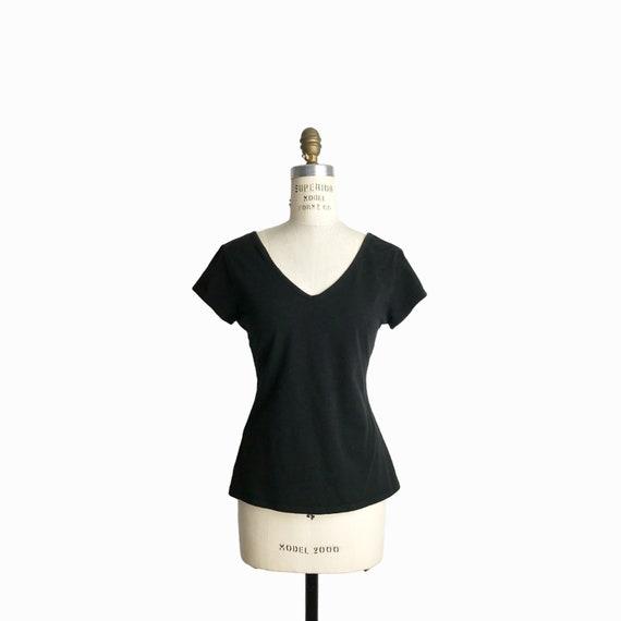 Vintage 90s Double V-Neck Tee / 90s Basics / 90s Black T-Shirt - women's medium
