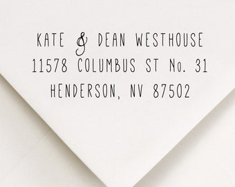 Return Address Stamp, Custom Address Stamp, Self Inking Address, Custom Rubber Stamp, Housewarming Gift, Kate and Dean Design