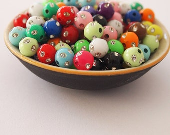 100 Acrylic Round Beads Mix Clearance Lot Destash Multi Colour Red Blue Pink Green Size 7.5mm