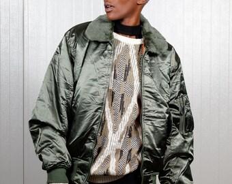 Vintage bomber jacket / Vintage flight jacket / Ladies army bomber jacket / Men's bomber jacket / Size S