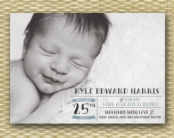 Baby Announcement Birth Announcement Baby Boy Announcement Baby Girl Announcement Full Photo Newborn Typography Style