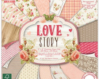 LOT 16 SHEET OF PAPER CARDSTOCK SHABBY CHIC VINTAGE SCRAPBOOKING ROMANTIC BOHEMIAN LOVE STORY 2016 NOVELTY 20X20CM