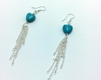 Sterling Sivler Earrings, Turquoise Earrings, Heart Earrings, Magnesite Earrings,
