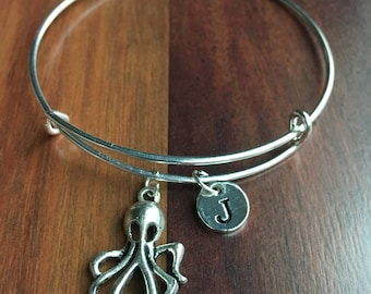 Large Octopus Initial bracelet, Silver Octopus Pendant, Octopus Charm bracelet, Nautical Jewelry, Sea Animal Nautical bracelet