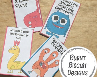 Monster Halloween Bookmarks - Printable Foldable Halloween Bookmarks for Kids