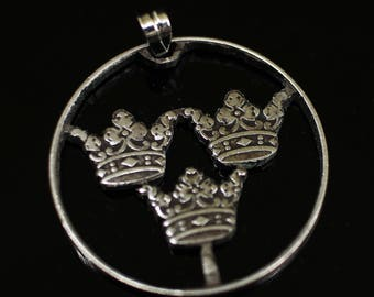 Sweden 5 Ore Patriotic Crown Pendant with Necklace, Cut Coin Jewelry
