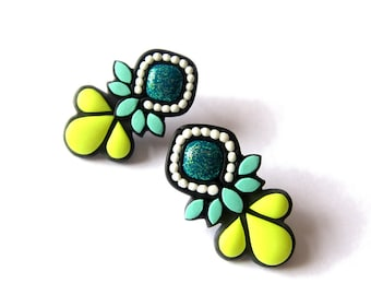 Teal Earrings, Neon Jewelry, Polymer Clay Earrings, Modern Earrings, Statement Earrings, Neon Yellow Earrings Big Stud Earrings Bold Jewelry