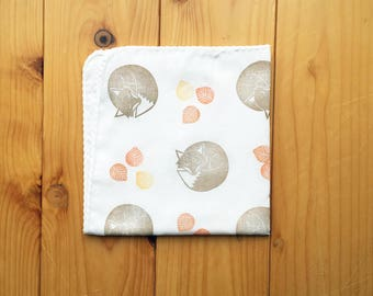 fox handkerchief | kids animal hankie | woodland children face wipe | cotton baby nose wipe | eco friendly hand towel | gift for her