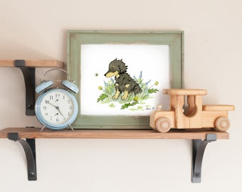 Dachshund Art, Dachshund Print, Long Haired Dachshund, Watercolor Dog Art, Puppy Nursery Art, Children's Art, Wiener Dog Art, Dachshund Gift