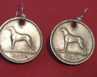 Authentic Antique Vintage Celtic Ireland  Irish Wolfhound Coin Earrings