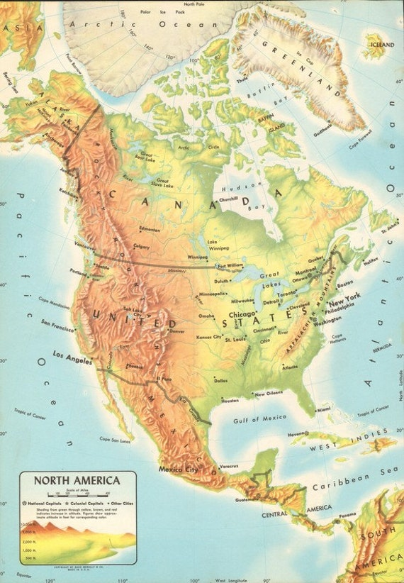 Items similar to vintage physical map of north america usa central items similar to vintage physical map of north america usa central america large colorful retro 1959 on etsy sciox Images
